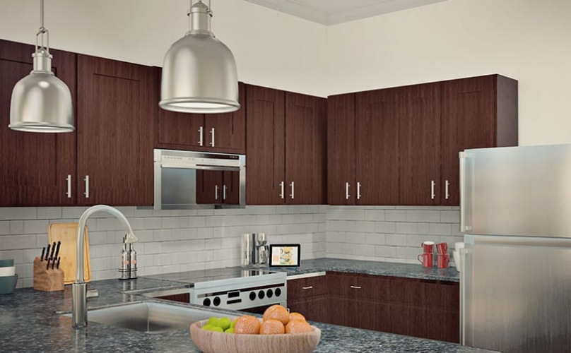 rendering of kitchen showing ample counter-space