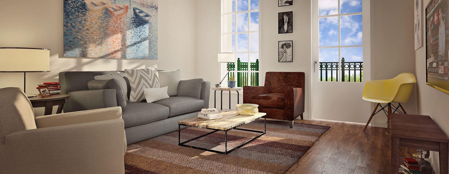 rendering of spacious living area