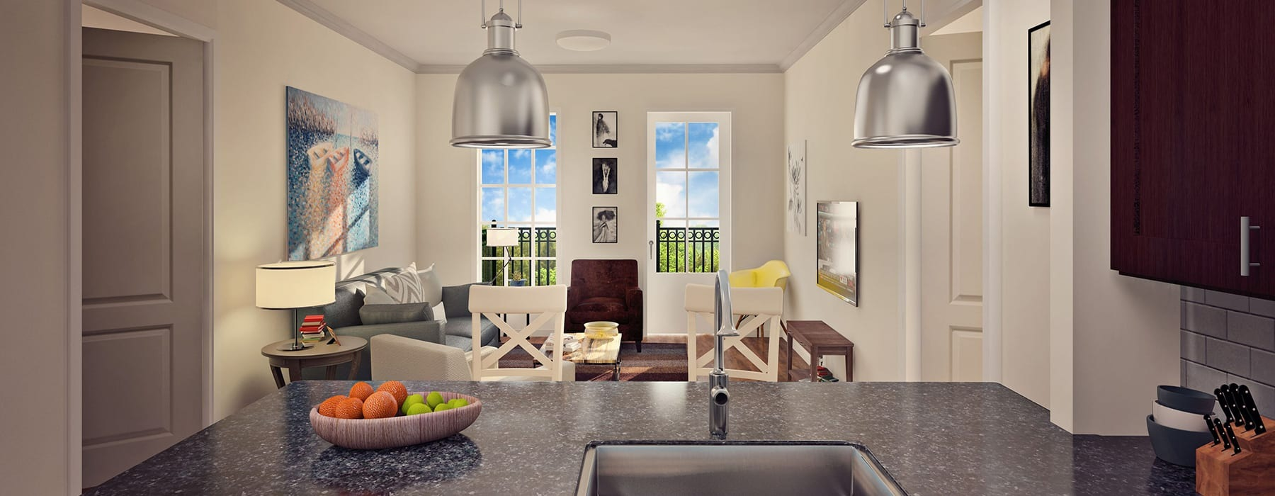 rendering of open kitchen that connects to well-lit living and dining areas