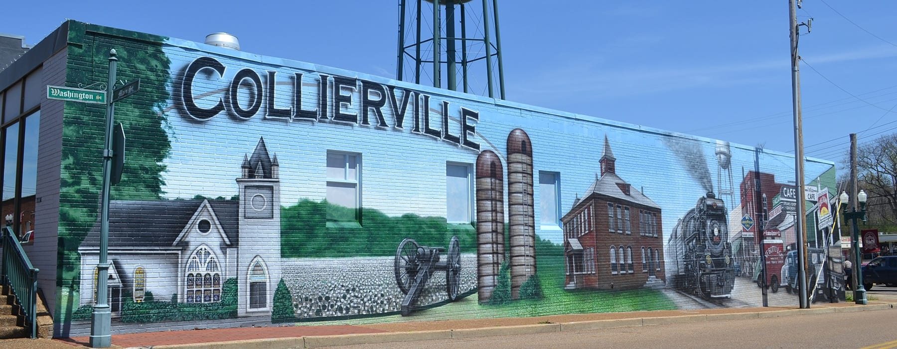 painting of Collierville on side of building in downtown Collierville